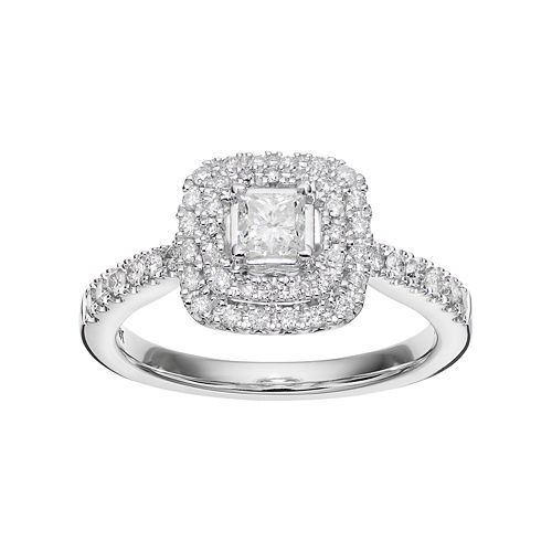 Simply Vera Vera Wang 14k White Gold 3/4 Carat T.W. Diamond Square Halo Engagement Ring