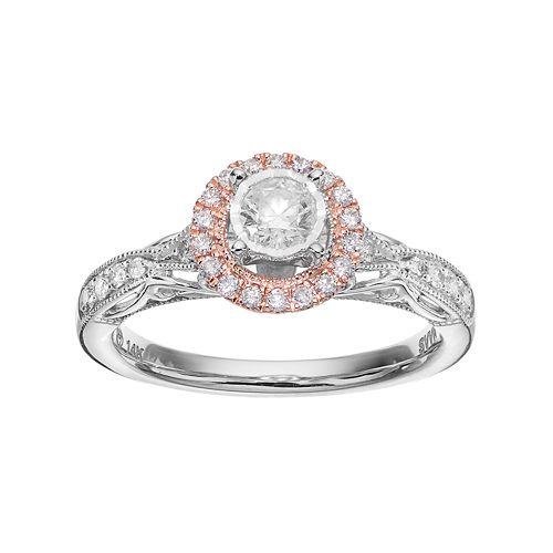 Simply Vera Vera Wang Two Tone 14k White Gold 1/2 Carat T.W. Diamond Halo Engagement Ring