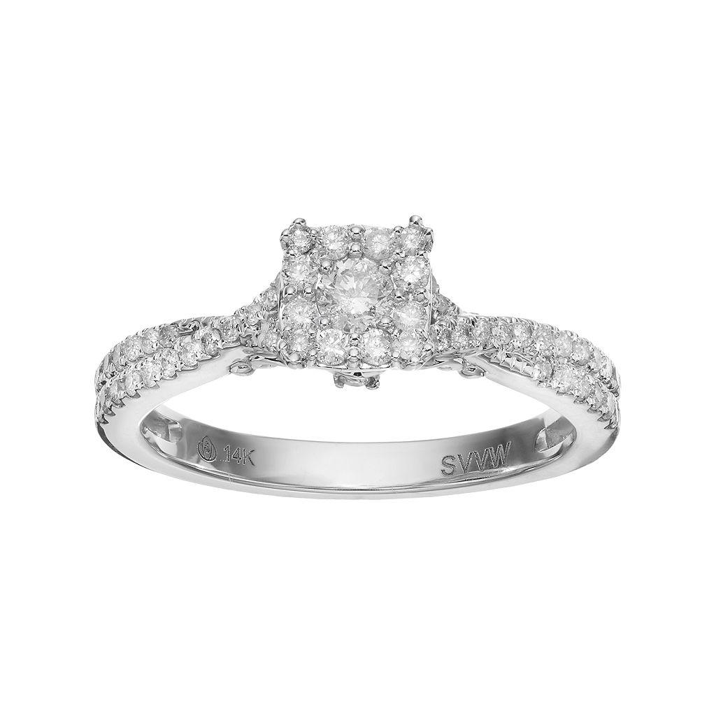 Simply Vera Vera Wang 14k White Gold 1/2 Carat T.W. Diamond Square Halo Engagement Ring