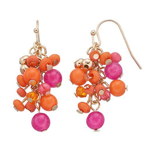 Pink & Orange Beaded Cluster Drop Earrings