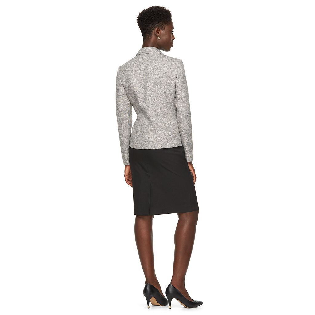 Women's Le Suit Tweed Suit Jacket & Solid Skirt Set
