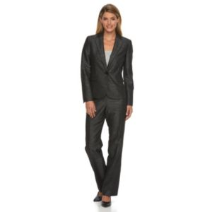 Women's Le Suit Slubbed Suit Jacket & Pants Set