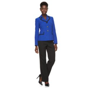 Women's Le Suit Basketweave Suit Jacket & Straight-Leg Pants Set