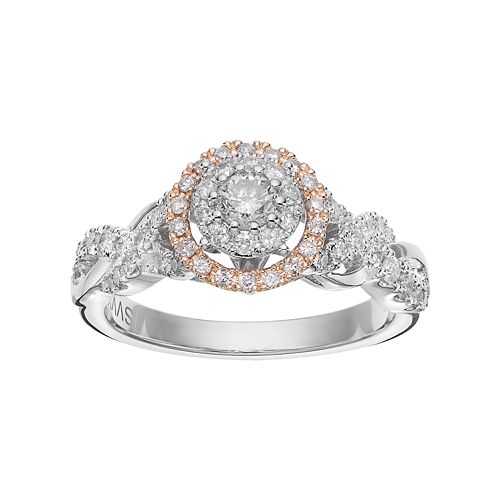 Simply Vera Vera Wang 14k White Gold 3/4 Carat T.W. Diamond Halo Engagement Ring