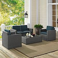 Palm Harbor Faux Wicker Loveseat Seating 4 pc Set