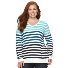 Plus Size Croft & Barrow® Essential Striped V-Neck Sweater