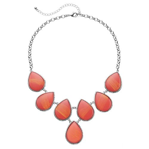 Orange Teardrop Cabochon Necklace
