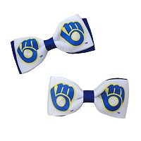 Women's Milwaukee Brewers 2-Piece Bow Hair Clip Set