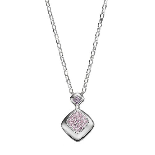 Lotopia Pink & Purple Cubic Zirconia Sterling Silver Pendant Necklace