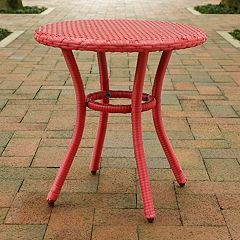 Palm Harbor Faux Wicker Round End Table