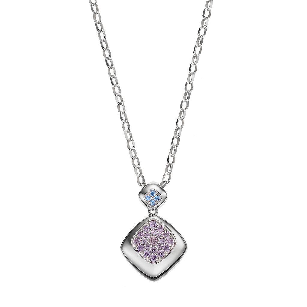 Lotopia Purple & Blue Cubic Zirconia Sterling Silver Pendant Necklace