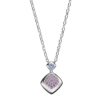 Lotopia Purple & Blue Cubic Zirconia Sterling Silver Pendant Necklace