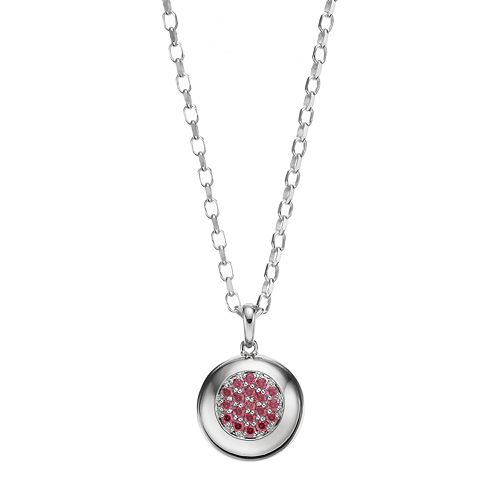 Lotopia Red Cubic Zirconia Sterling Silver Circle Pendant Necklace