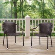 Palm Harbor Outdoor Wicker Stackable Chair 2-piece Set