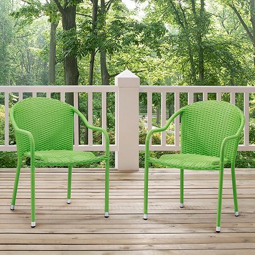 Terrific Palm Harbor Outdoor Wicker Stackable Chair 2 Piece Set Creativecarmelina Interior Chair Design Creativecarmelinacom