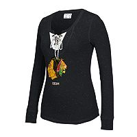 Women's CCM Chicago Blackhawks Lace-Up Henley Tee