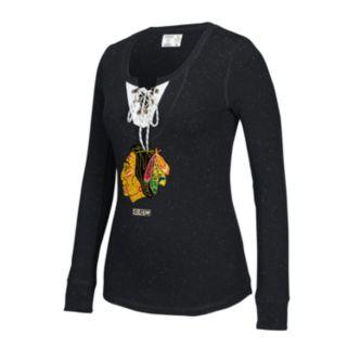 Women's CCM Chicago Blackhawks Lace-Up Henley Tee