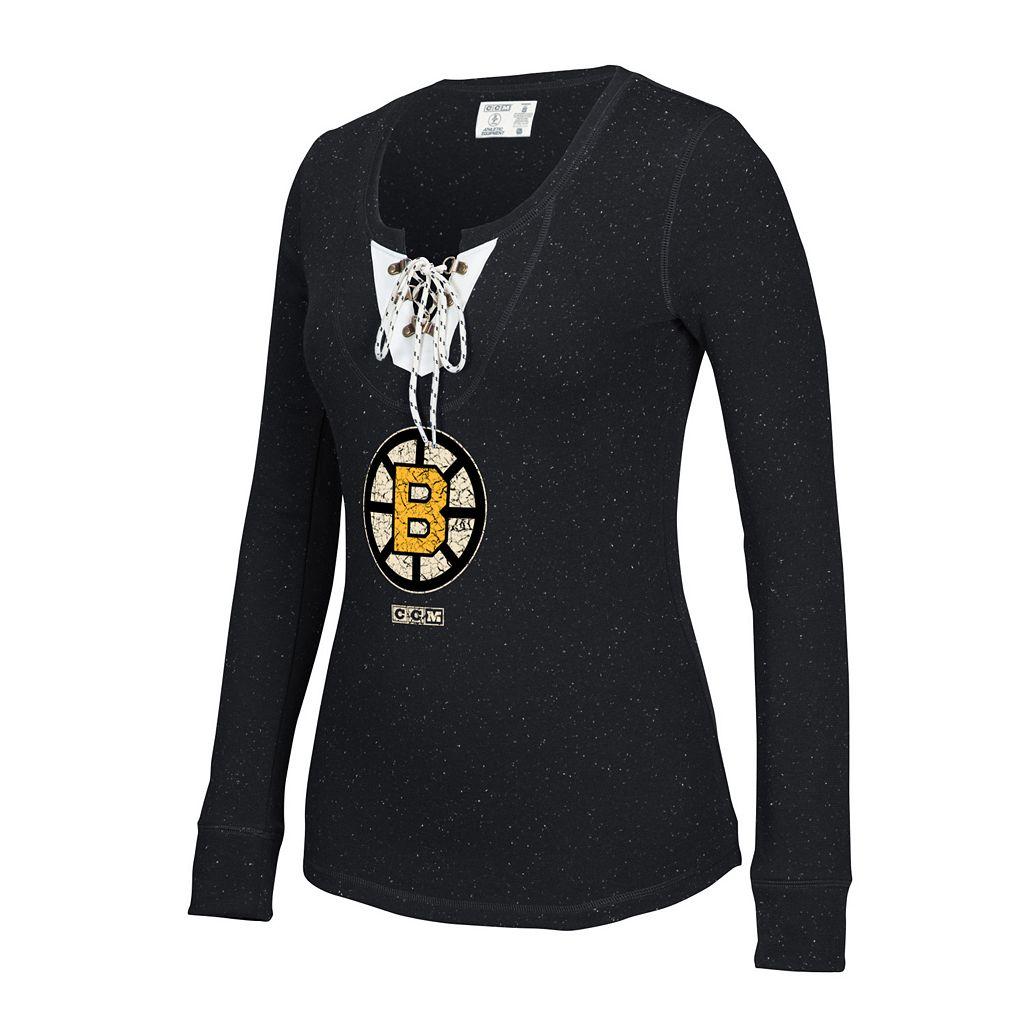 Women's CCM Boston Bruins Lace-Up Henley Tee