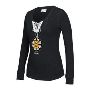 Women's CCM Boston Bruins Lace-Up Henley Tee