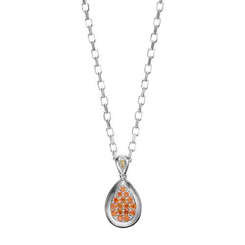 Lotopia Orange & Yellow Cubic Zirconia Sterling Silver Teardrop Pendant Necklace