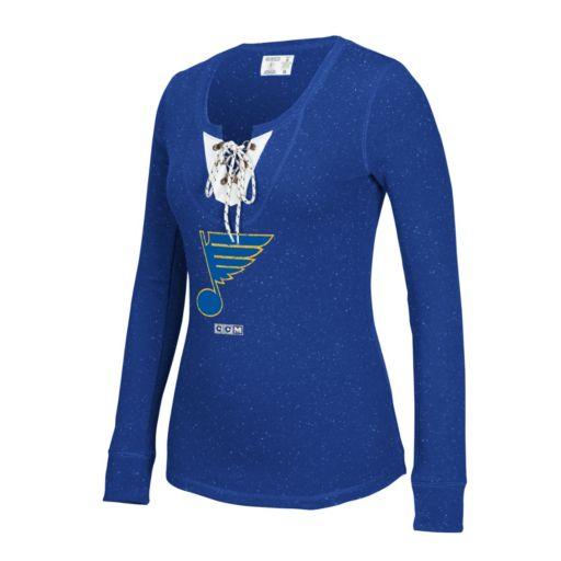 Women's CCM St. Louis Blues Lace-Up Henley Tee