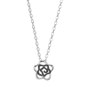 Lotopia Black Cubic Zirconia Sterling Silver Flower Pendant Necklace