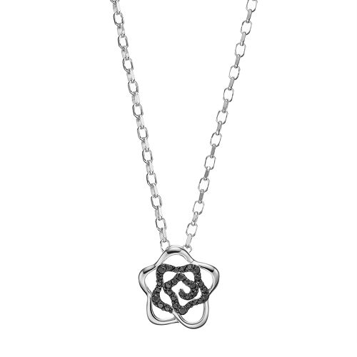 Lotopia Black Cubic Zirconia Sterling Silver Flower Pendant Necklace