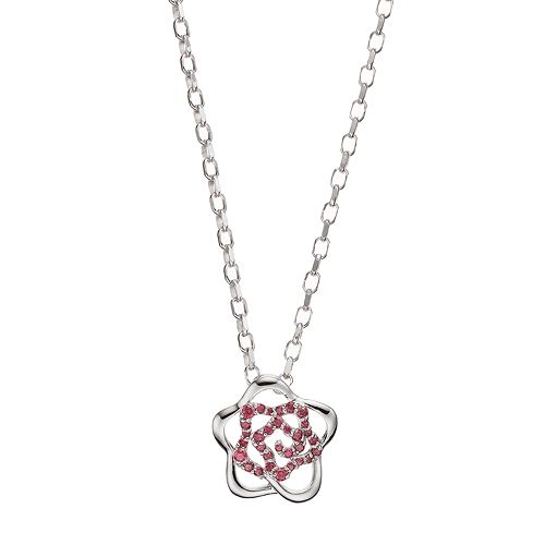 Lotopia Red Cubic Zirconia Sterling Silver Flower Pendant Necklace