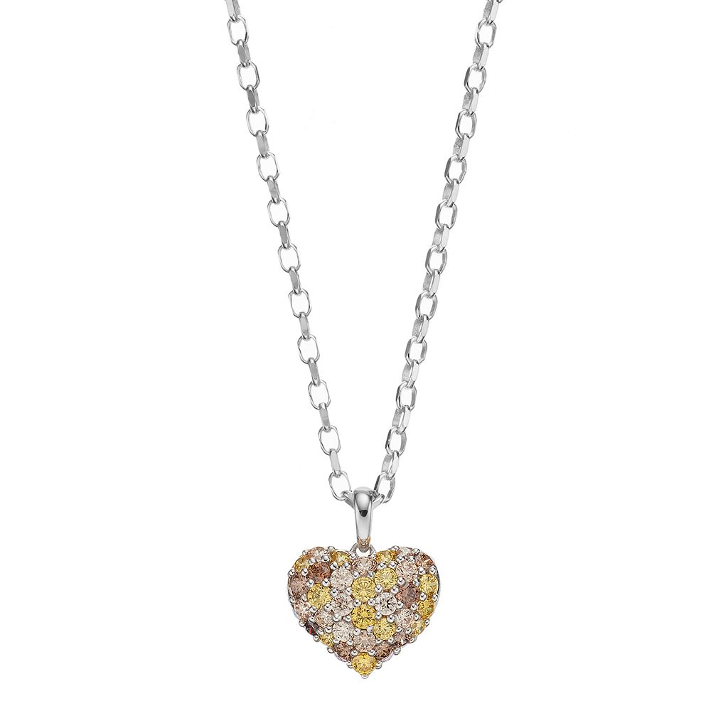 Lotopia Yellow, Brown & White Cubic Zirconia Sterling Silver Heart Pendant Necklace