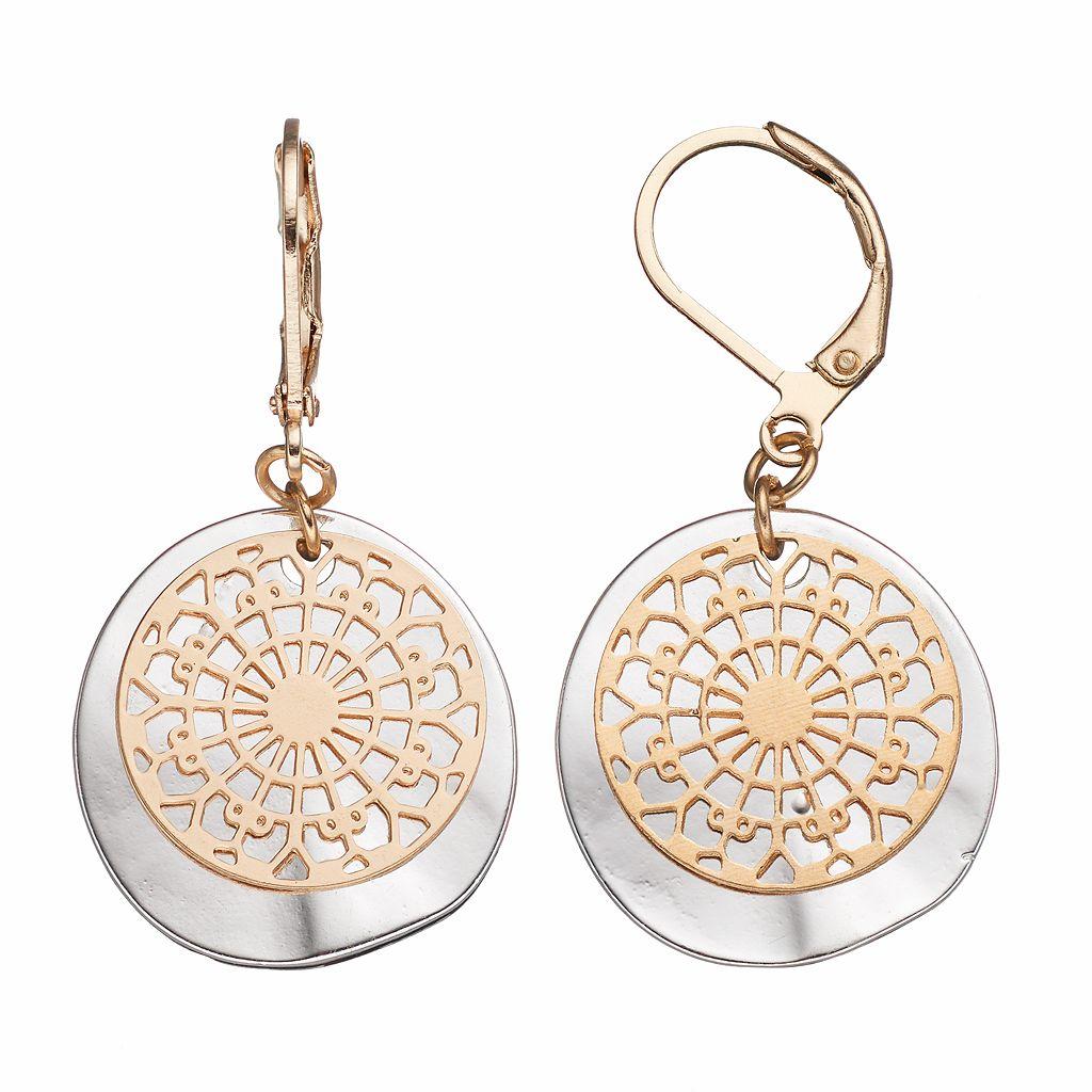 Two Tone Medallion Disc Drop Earrings