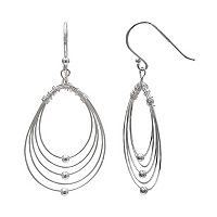 PRIMROSE Sterling Silver Wire Oval Hoop Earrings