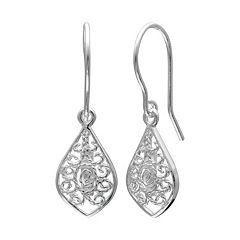 PRIMROSE Sterling Silver Filigree Marquise Drop Earrings