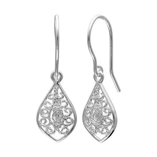 PRIMROSE Sterling Silver Filigree Marquise Drop Earrings