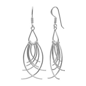 PRIMROSE Sterling Silver Curved Wire Drop Earrings