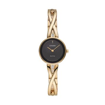 Citizen Eco-Drive Women's Silhouette Crystal Stainless Steel Half-Bangle Watch - EX1422-54E