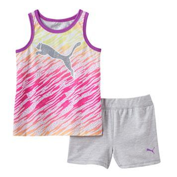 Girls 4-6x PUMA Glitter Zebra Tank & Shorts Set
