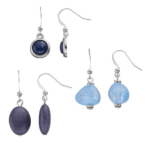 Blue Beaded Cabochon Drop Earring Set