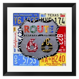"""Metaverse Art """"Route 66"""" Road Sign Framed Wall Art"""