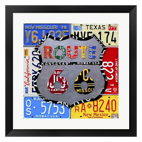 "Metaverse Art ""Route 66"" Road Sign Framed Wall Art"