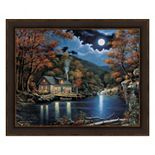 Metaverse Art Cabin By The Lake Framed Wall Art