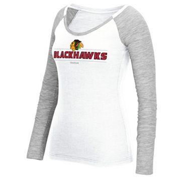 Women's Reebok Chicago Blackhawks Marled Slub Tee