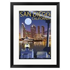Metaverse Art San Diego Night Framed Wall Art