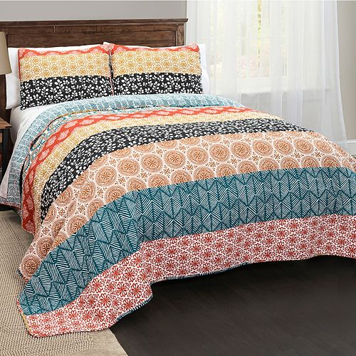lush decor bohemian stripe 3 piece quilt set