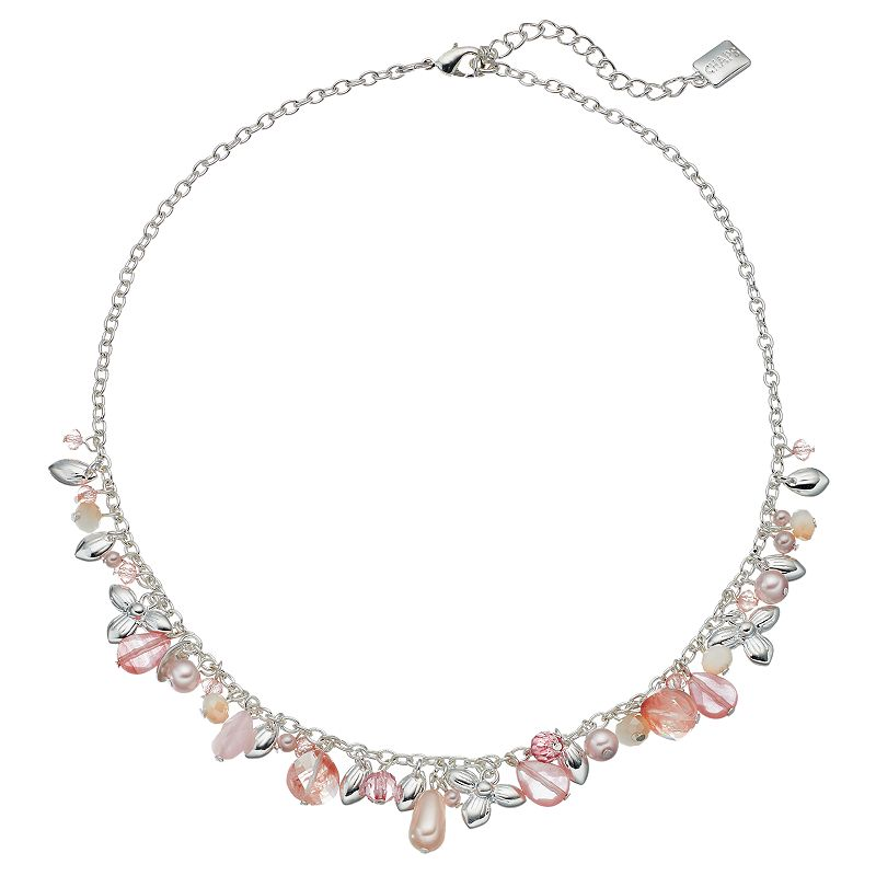 Chaps Beaded Flower Charm Necklace
