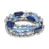 Blue Beaded Stretch Bracelet Set
