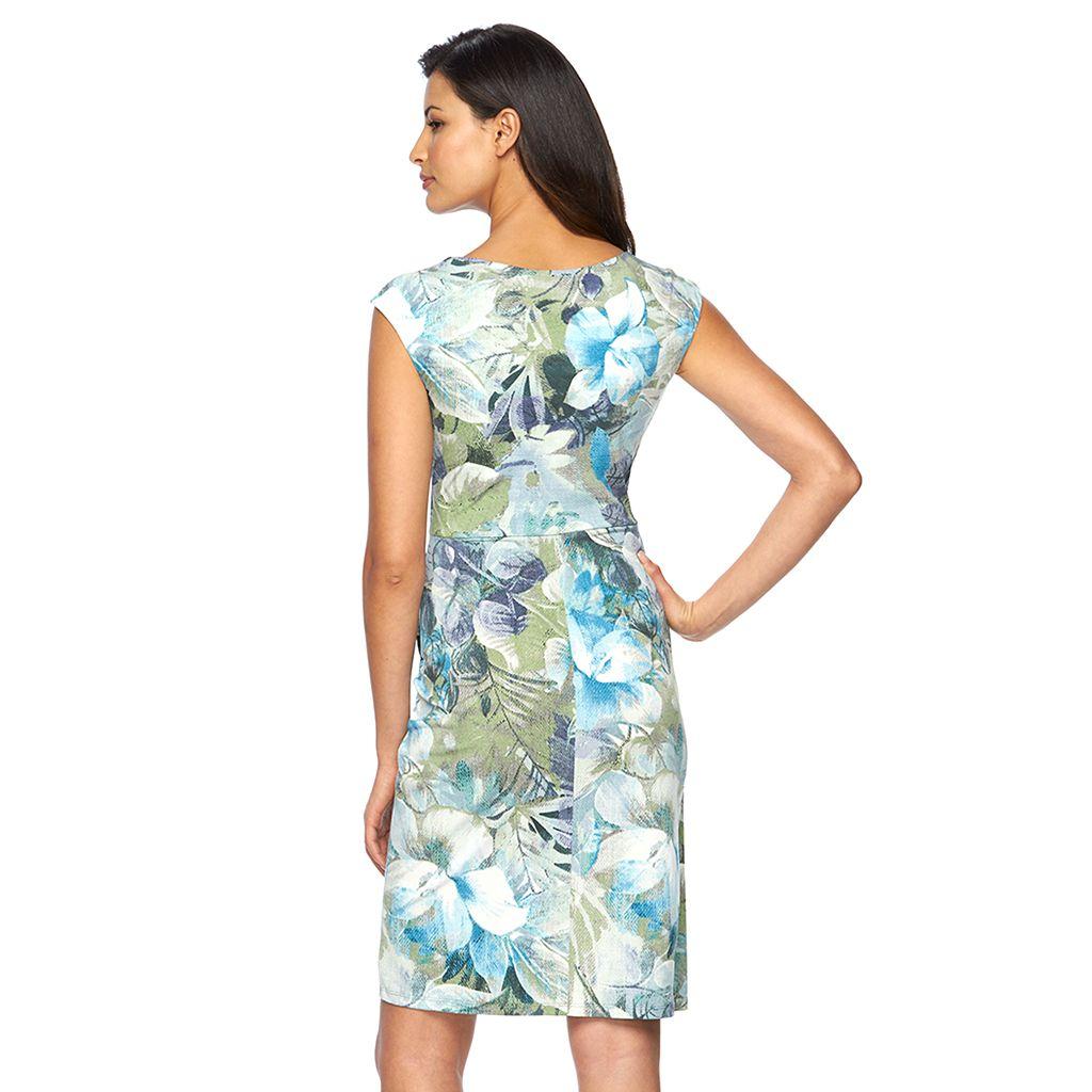 Women's Connected Apparel Asymmetrical Faux-Wrap Dress