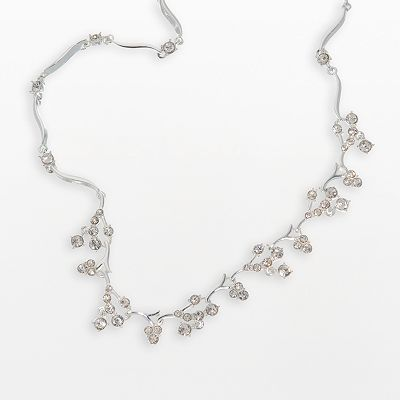 Trifari Clear Cubic Zirconia Cluster Necklace