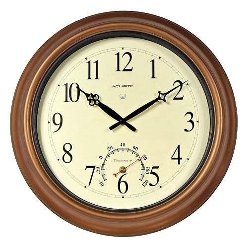 """AcuRite 18"""" Indoor / Outdoor Atomic Wall Clock & Thermometer"""