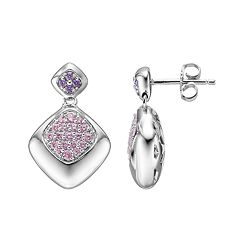 Lotopia Pink & Purple Cubic Zirconia Sterling Silver Diamond-Shaped Drop Earrings