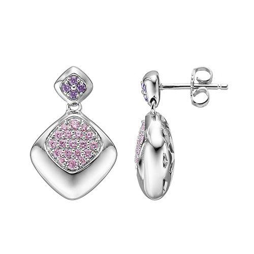Lotopia Pink & Purple Cubic Zirconia Sterling Silver Diamond-Shaped Drop Earrings